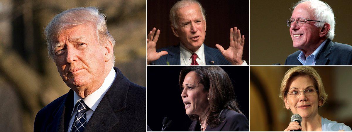 US-Wahl Kandidaten (Trump, Biden, Sander, Harris und Warren)